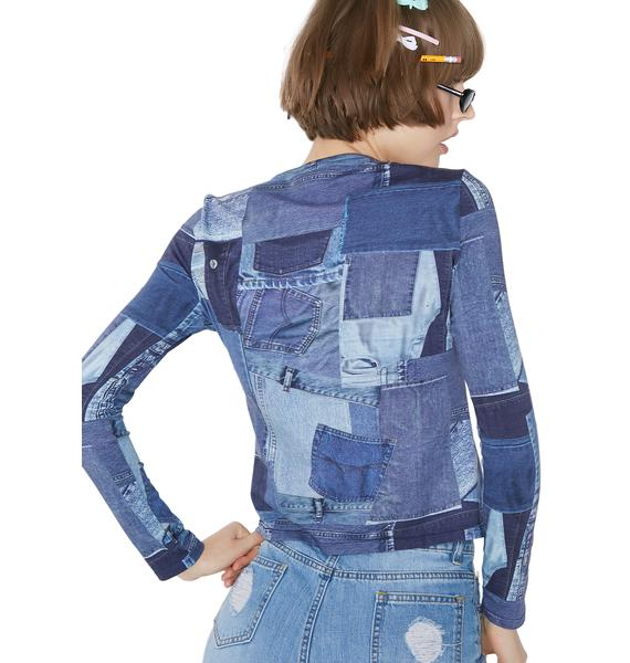 Illustrated People Denim Tight Top