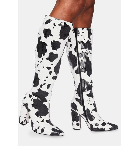 Lemon Drop by Privileged Fanning Cow Print Boots
