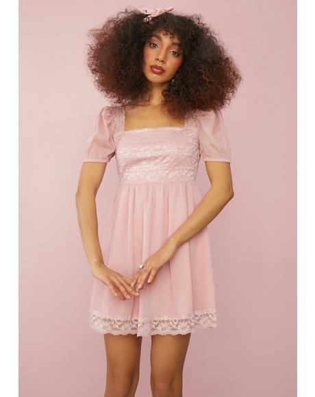 Rose Honeydew Pucker Babydoll Dress