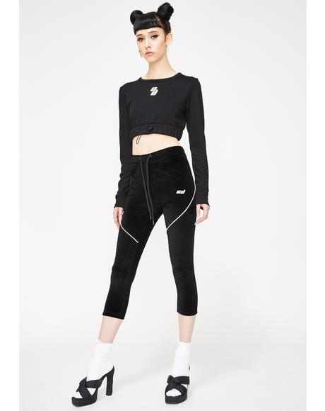 Black Velour Crop Leggings