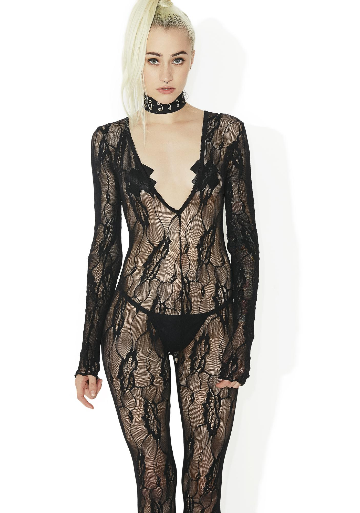 Midnight Garden Lace Bodystocking