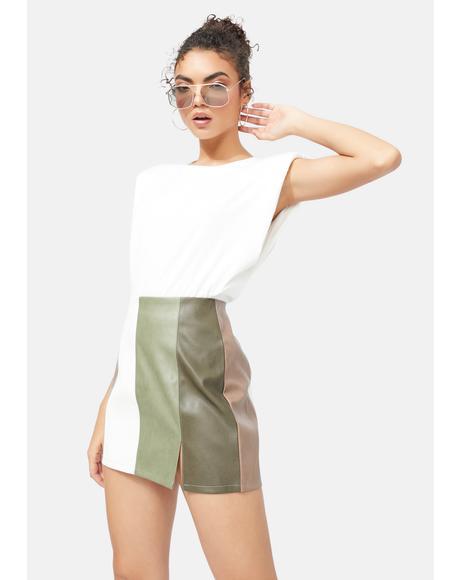 Count Me In Vegan Leather Colorblock Skirt