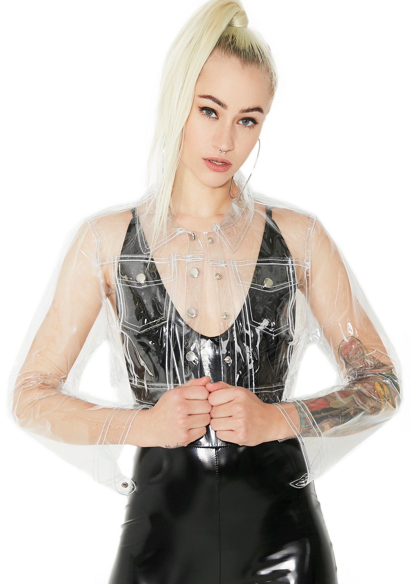 Clear Plastic Cropped jacket