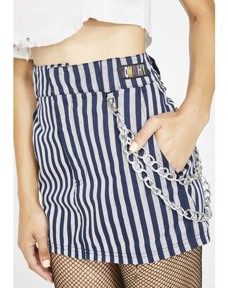 Work Stripes Chain Skirt