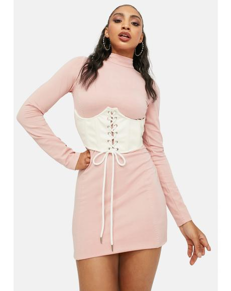 Sweet In Any Event Mock Neck Bustier Dress