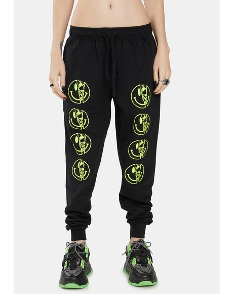 Yellow Killer Smiley Jogger Sweatpants