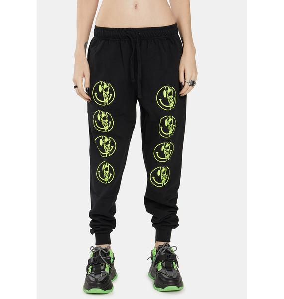 Long Clothing Yellow Killer Smiley Jogger Sweatpants