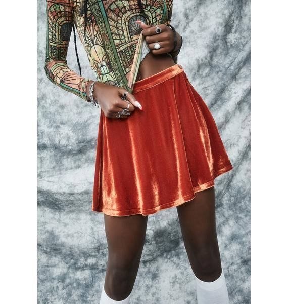 dELiA*s by Dolls Kill History Repeating Velvet Mini Skirt