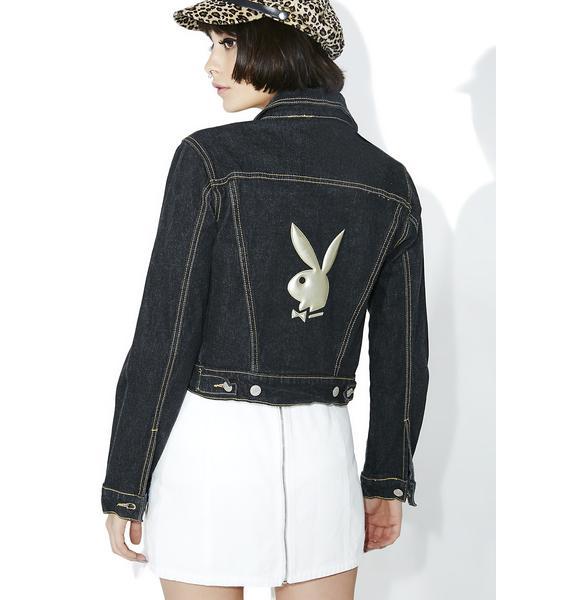 Vintage Playboy Cropped Denim Jacket