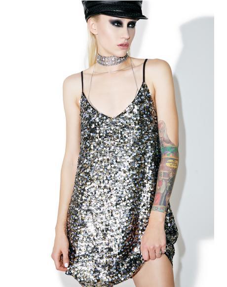 Multi Sequin Slip Dress