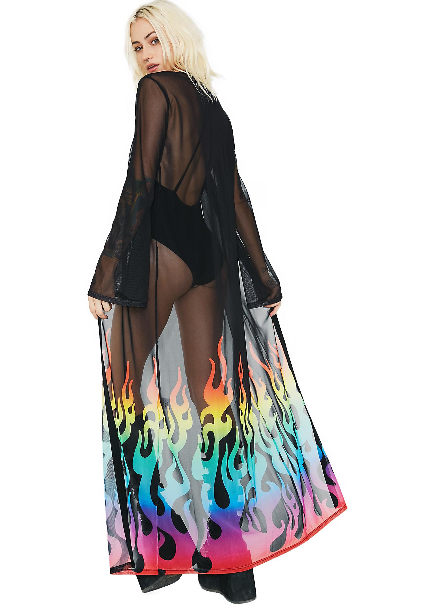 Jaded London Rainbow Flame Maxi Kimono