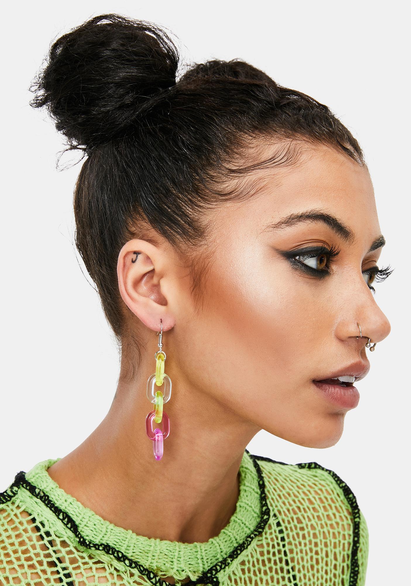 Bold Face Chunky Chain Earrings