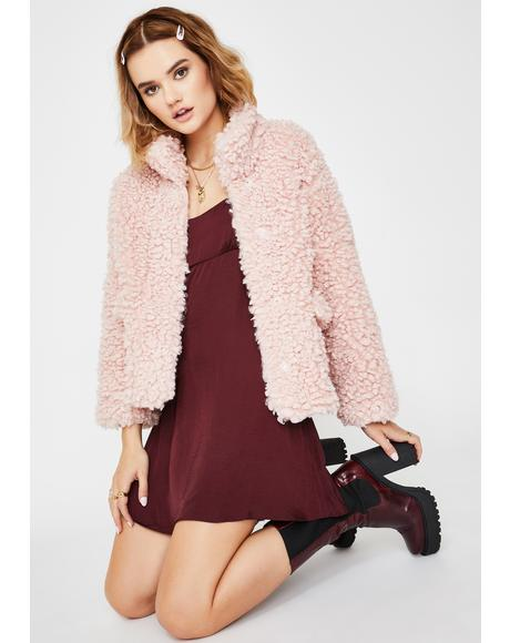 Pink Forest Walk Faux Fur Jacket