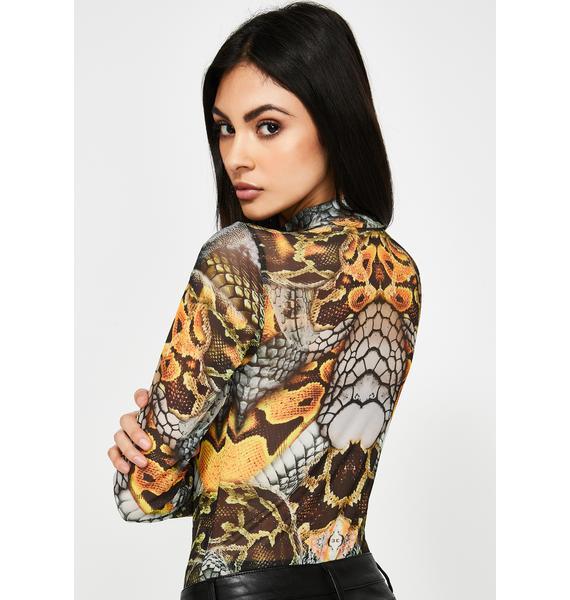 Jaded London Snake Print High Neck Mesh Bodysuit