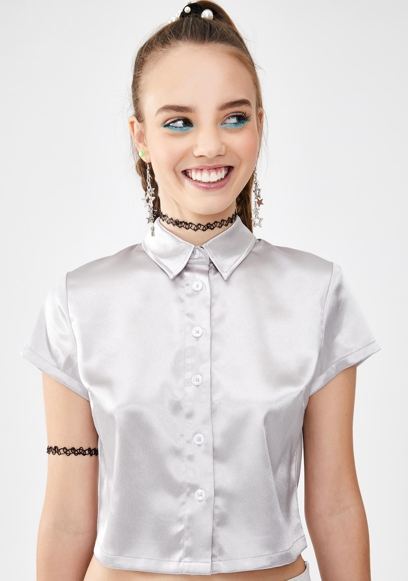 dELiA*s by Dolls Kill Wind It Up Satin Crop Top