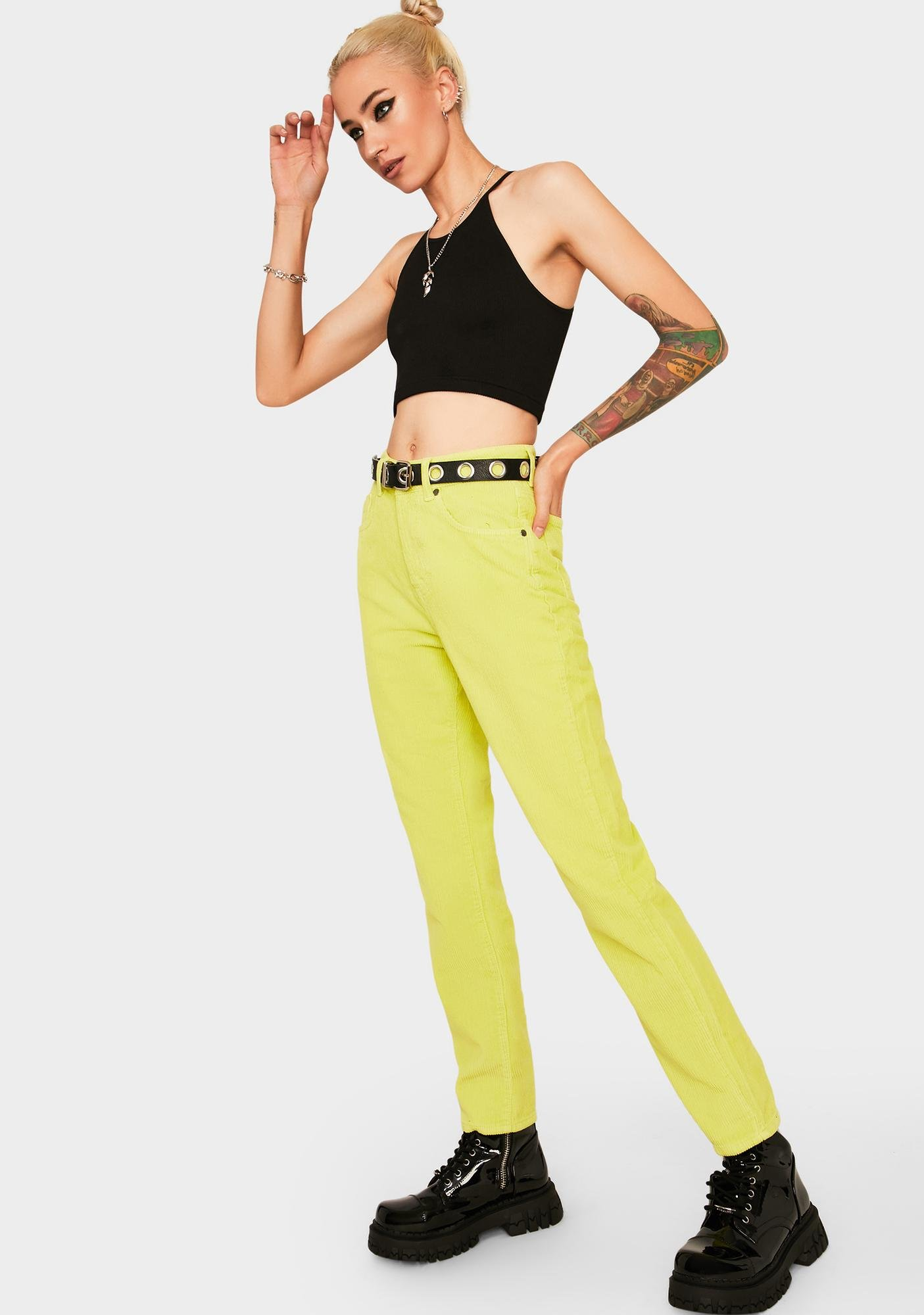The Ragged Priest Lime Cord Mom Jeans