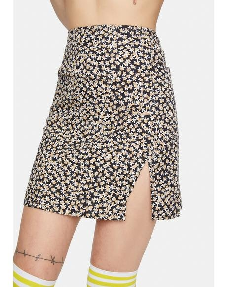 Spring Fling Floral Black Sheny Mini Skirt