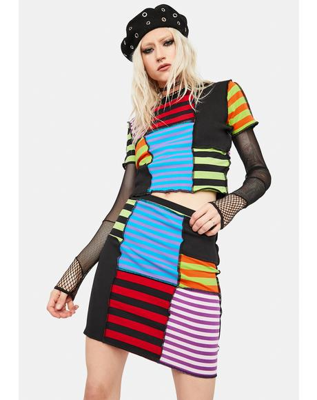 Performer Patchwork Stripe Mini Skirt