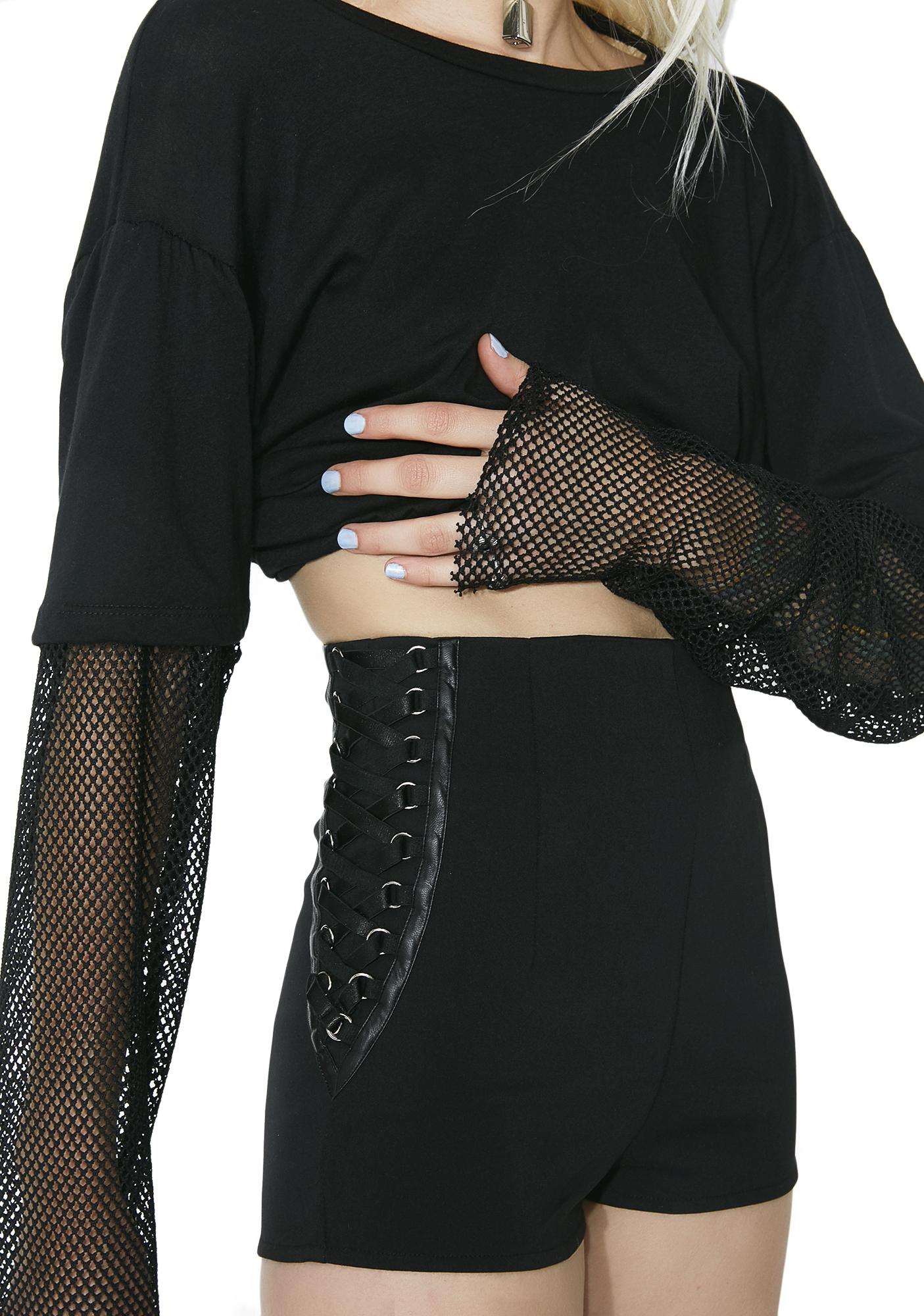 Black Side Lace-Up Shorts