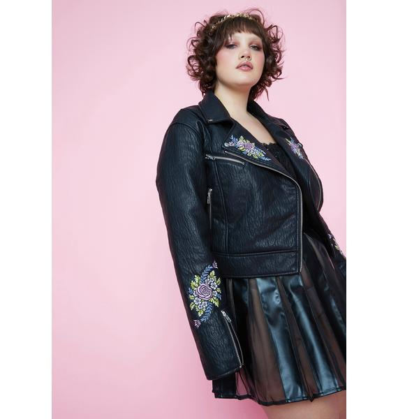 Sugar Thrillz She's Gaia's Daughter Floral Embroidered Moto Jacket