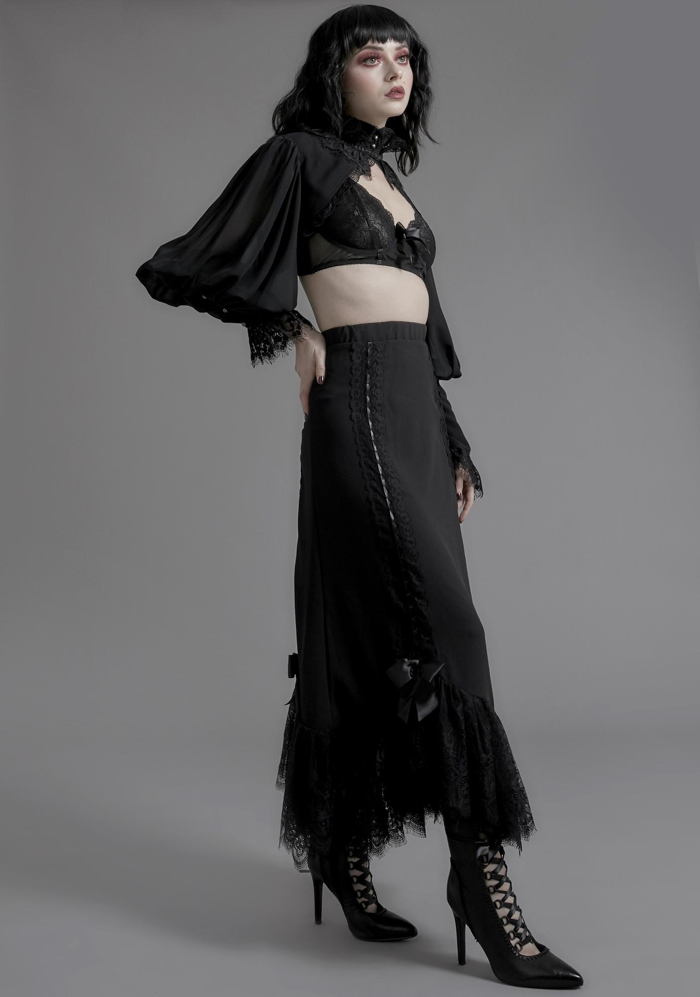 Widow Melancholia Lace Maxi Skirt