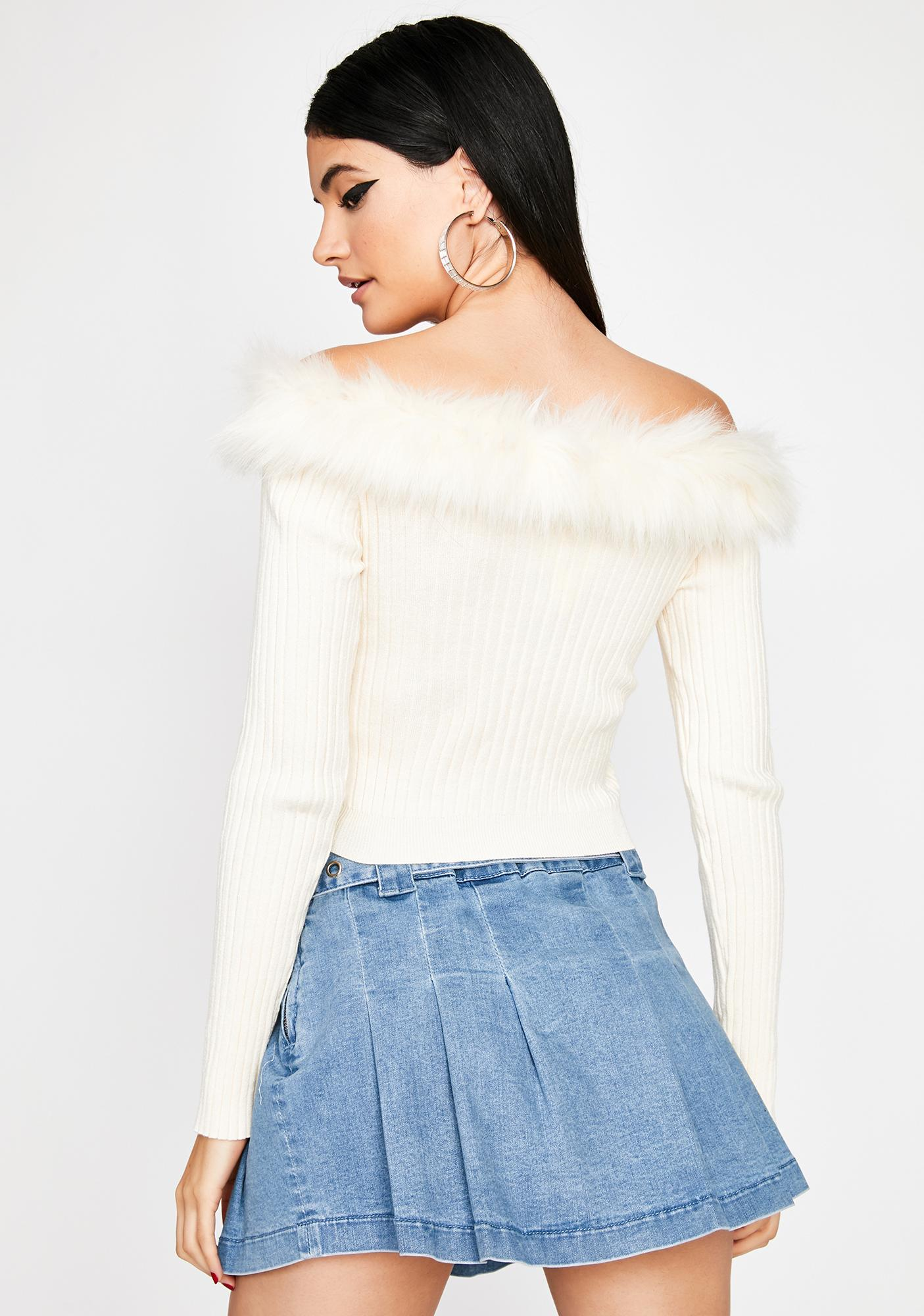 Pure Designer Taste Faux Fur Sweater