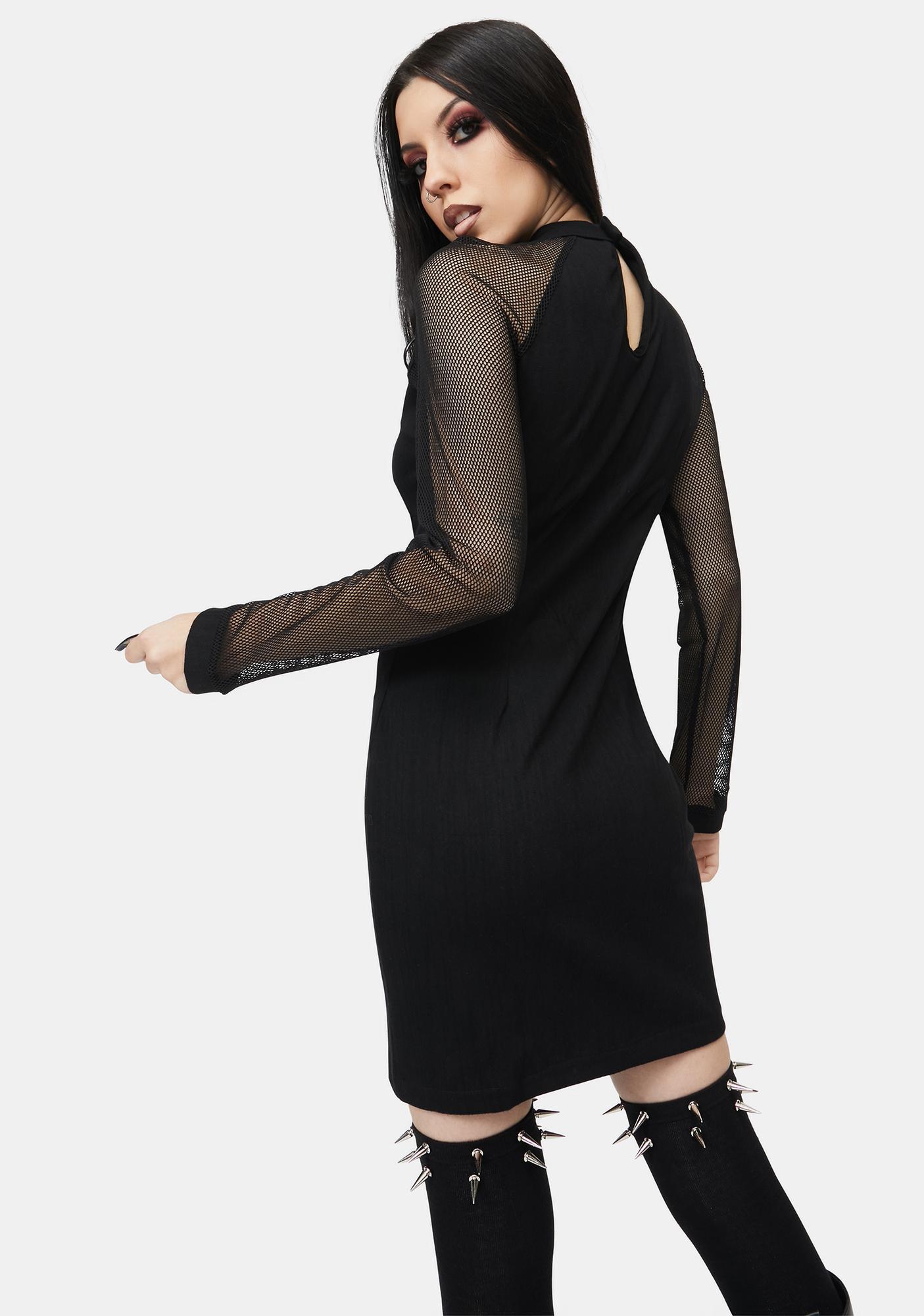 Dark In Love Mesh Zipper Mini Dress