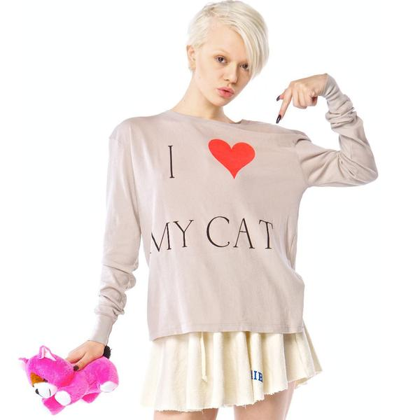 Wildfox Couture I Love My Cat Long Sleeve T