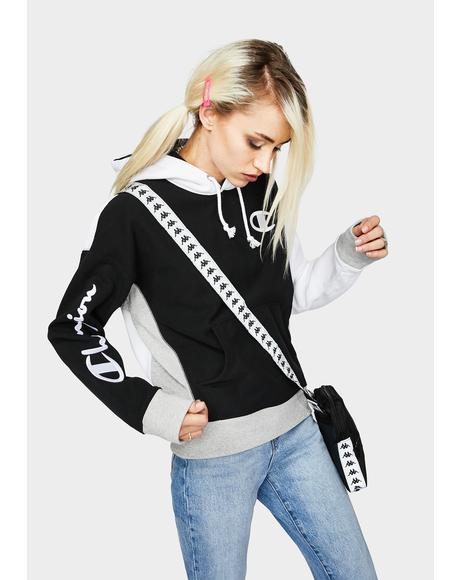 Black Reverse Weave Colorblock Hoodie