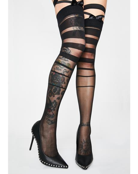 Lady Marmalade Stripe Thigh Highs