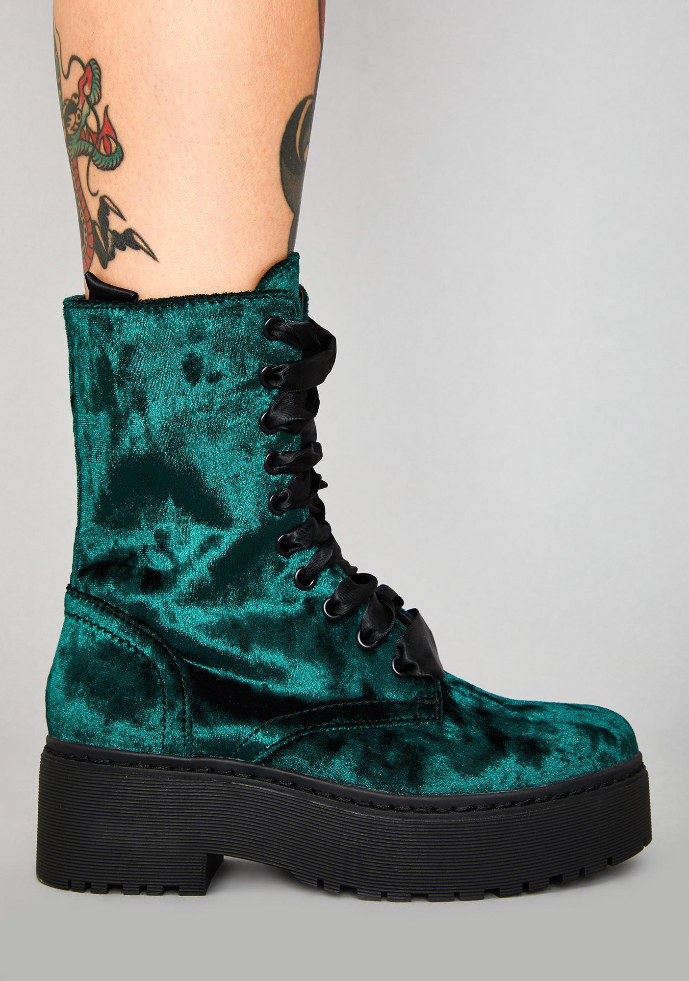 Widow Sin-struck Strides Velvet Boots
