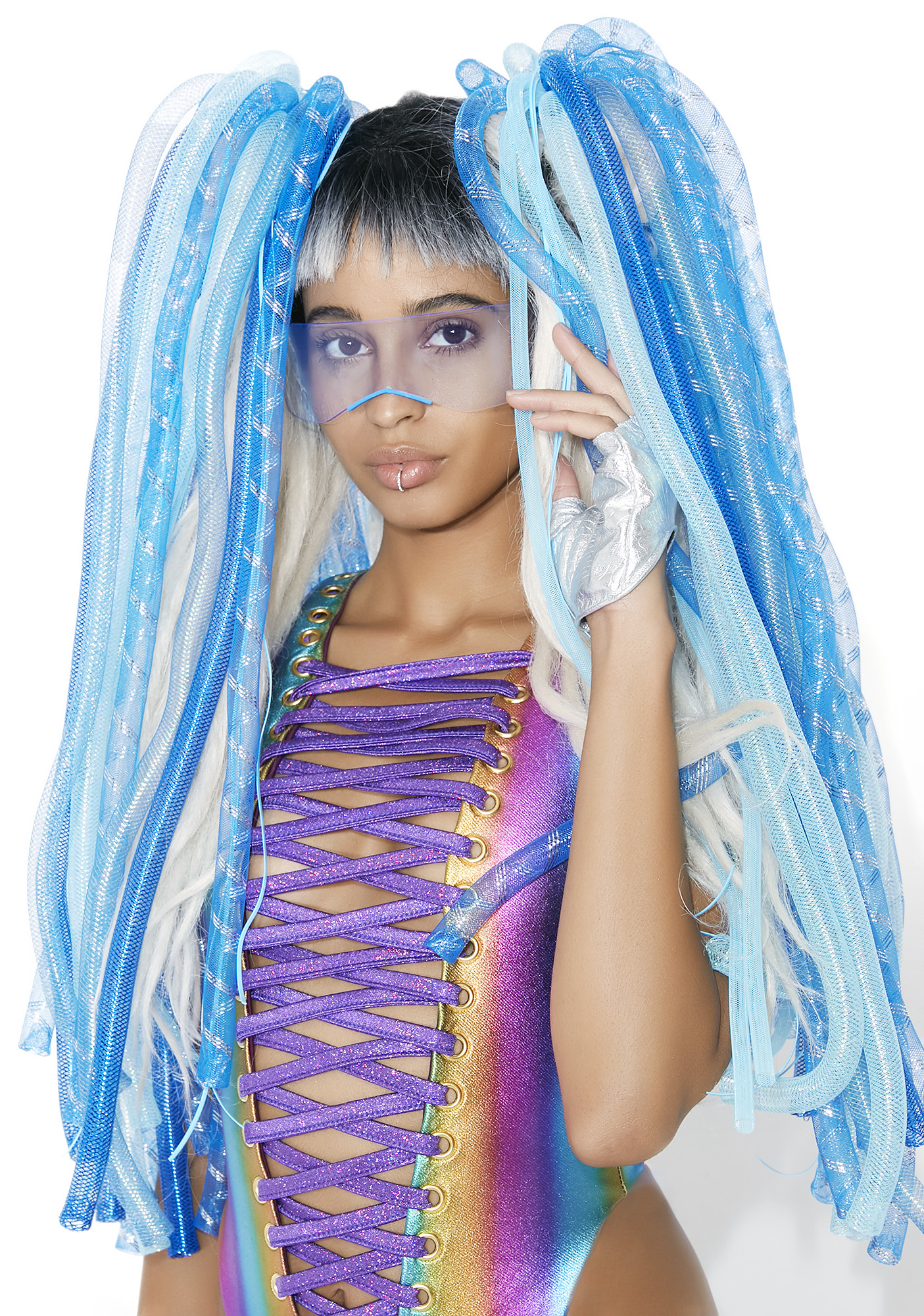 Aqua Cyberlox Tie-In Hair Falls