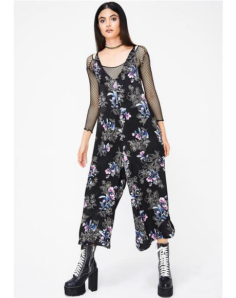 Dark Picking Petals Jumpsuit