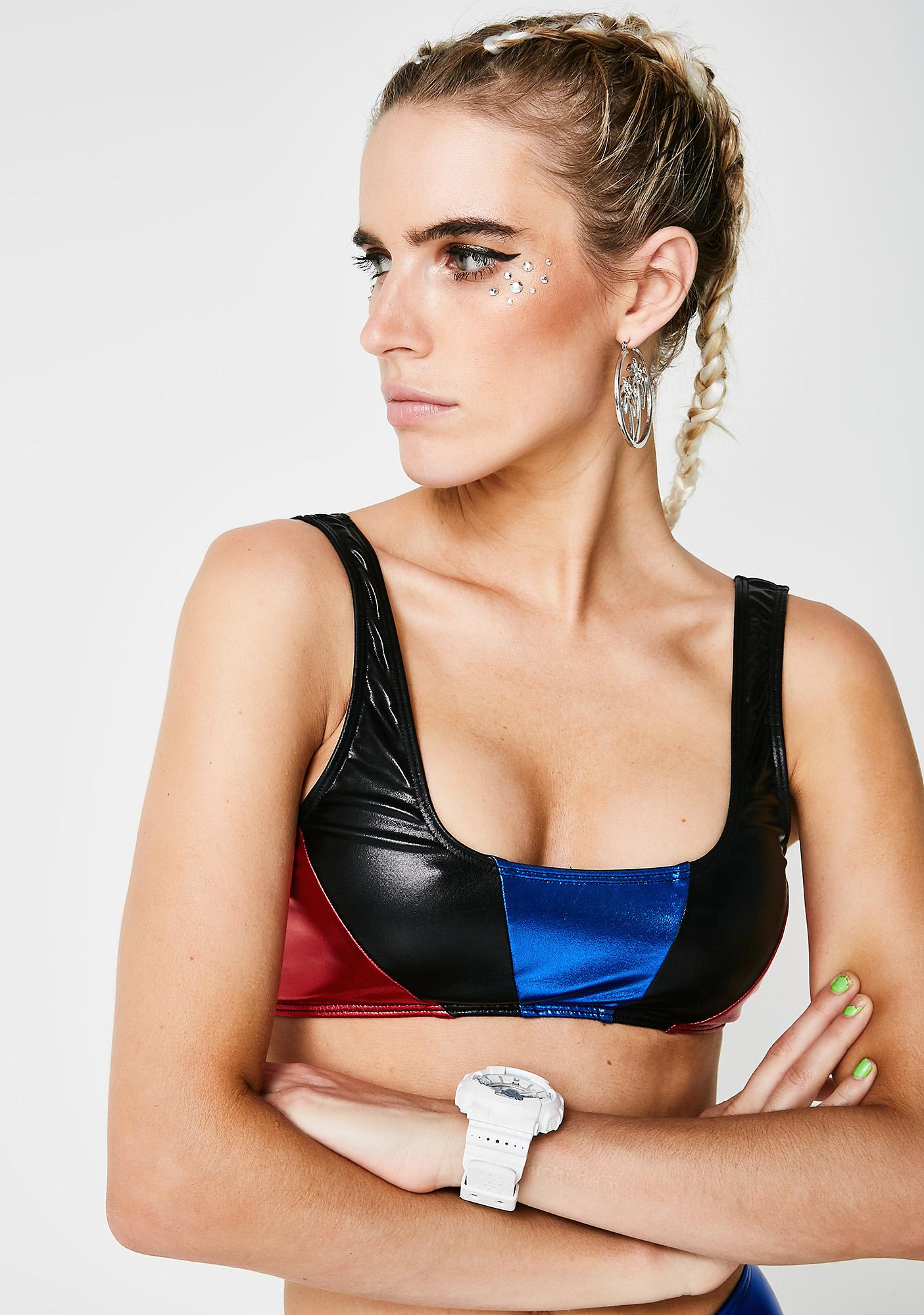Jaded London Moto Panelled Bikini Top