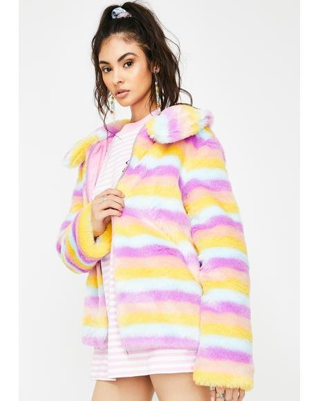 Stripe Faux Fur Front Zip Jacket
