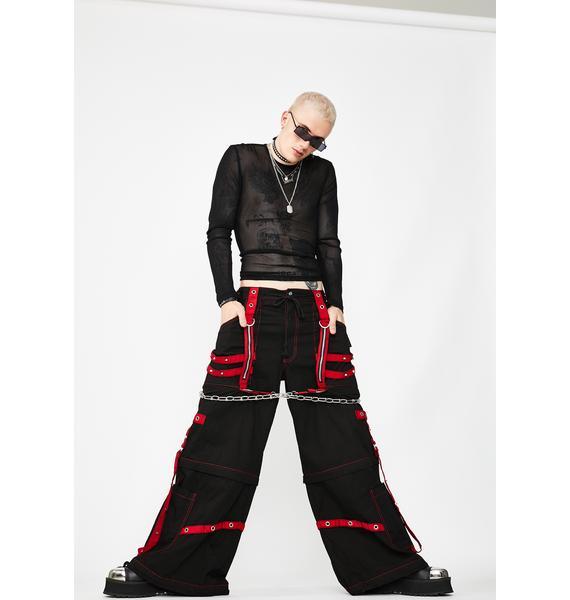 Women Gothic Bondage Rock Black Punk Buckle Zips Chain Strap Trousertripp Pants