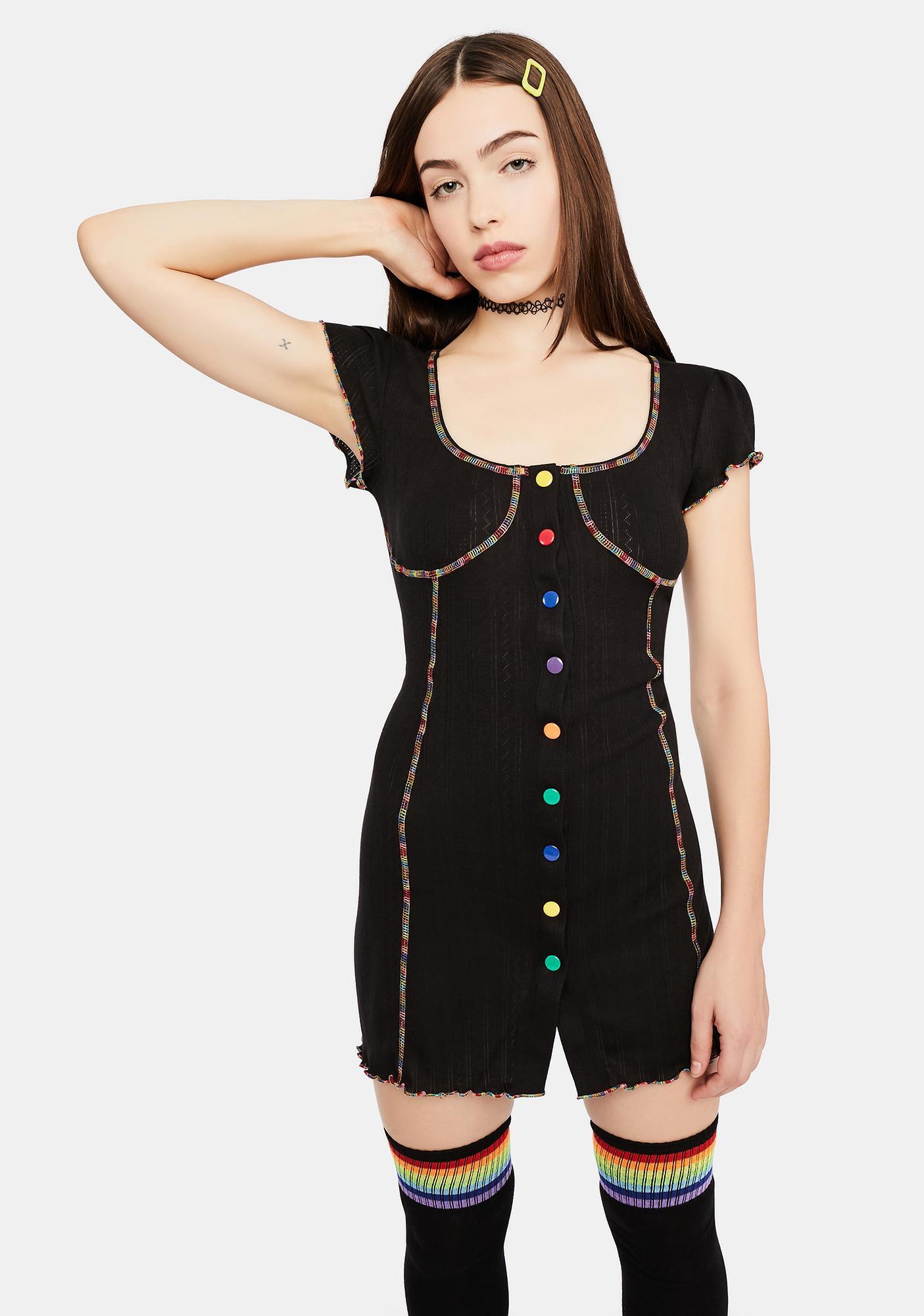 dELiA*s by Dolls Kill Cup Of Cheer Rainbow Stitch Mini Dress