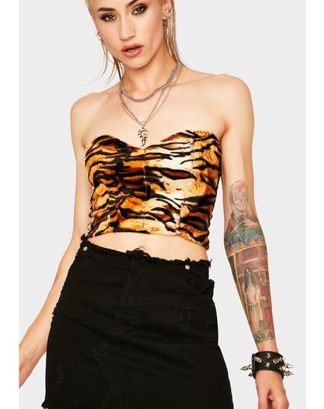 Tiger Print Corset Top
