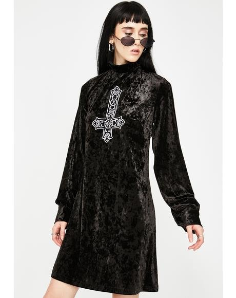 Crucifix Velour Dress