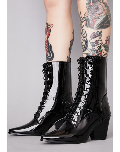 Punk Coven Patent Boots