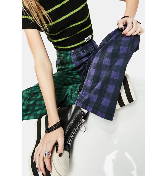 The Ragged Priest Green Hot Rod Mix Check Jeans