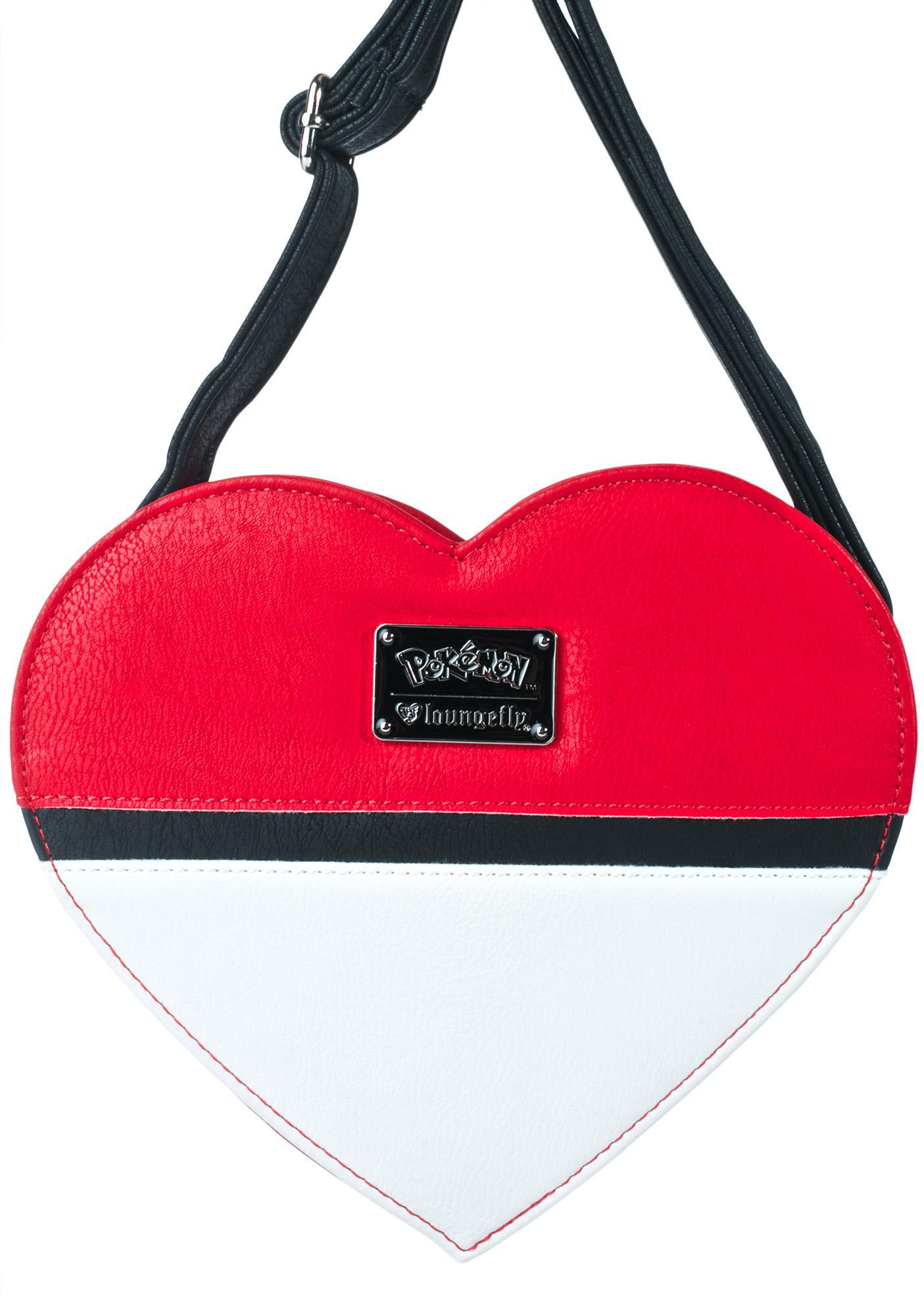 Loungefly X Pokémon Heart-Shaped Pokéball Crossbody Bag