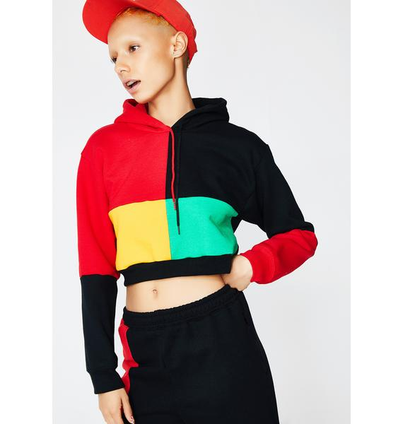 Cross Colours Color Block Pullover Crop Hoodie