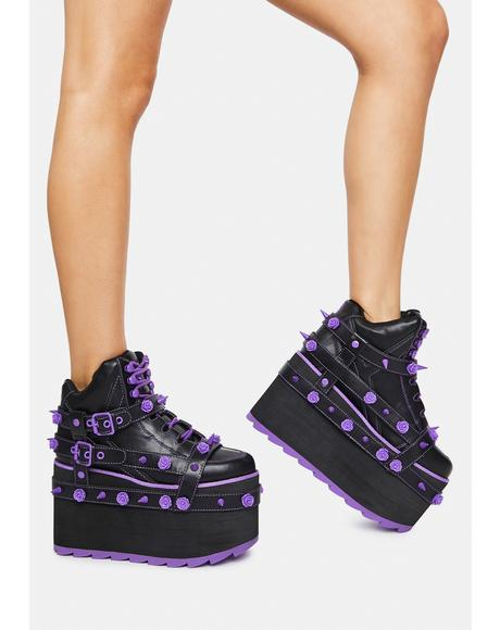 Purple Qozmo Bondage Rose Platform Sneakers