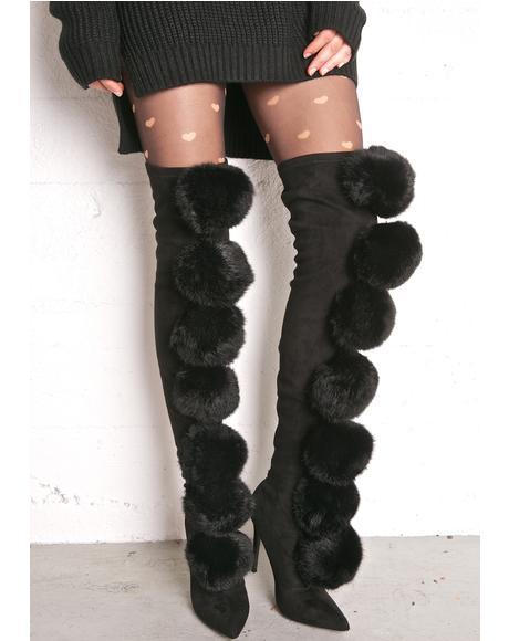 Fury Pom Pom Thigh-High Boots