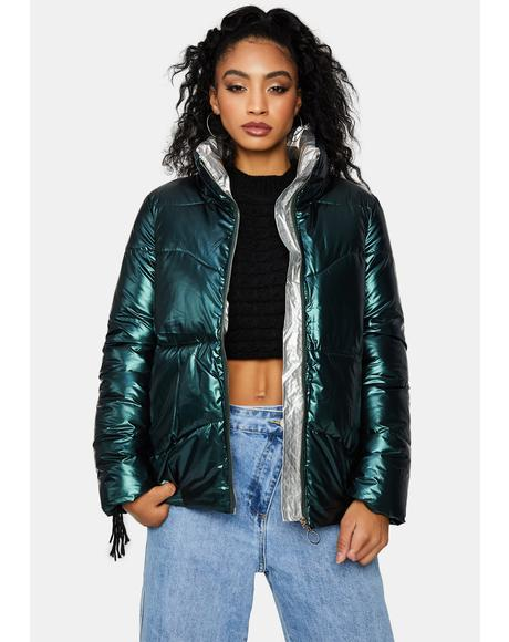Emerald Urban Glory Metallic Puffer Jacket