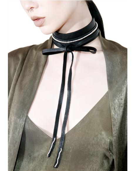 Thick Leather Tie Choker