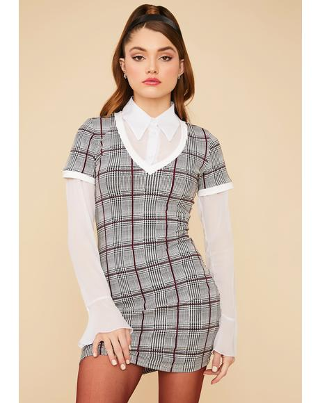 Elegant Etiquette Plaid Bodycon Dress