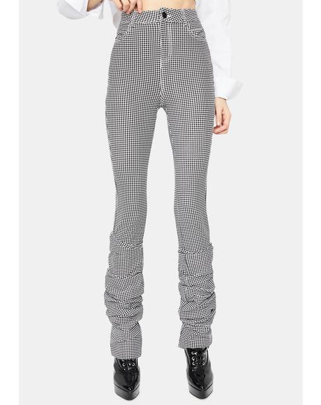 Noir Creating Habits Houndstooth High Waist Ruched Pants