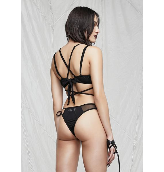 DARKER WAVS Synth Mesh Wrap Lingerie Set